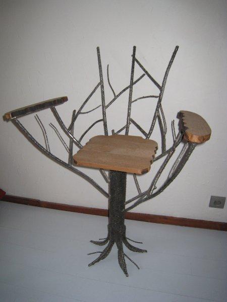 la chaise arbre david sculpteur sur inox